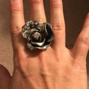 Large silver flower ring. Costume jewelry